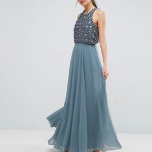 NEW embellished ASOS Pearl Crop Top Maxi Dress 10